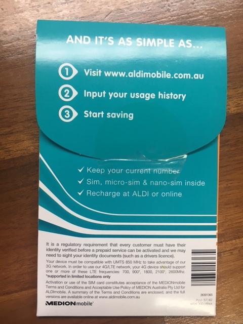 オーストラリアの格安SIMカードの裏面